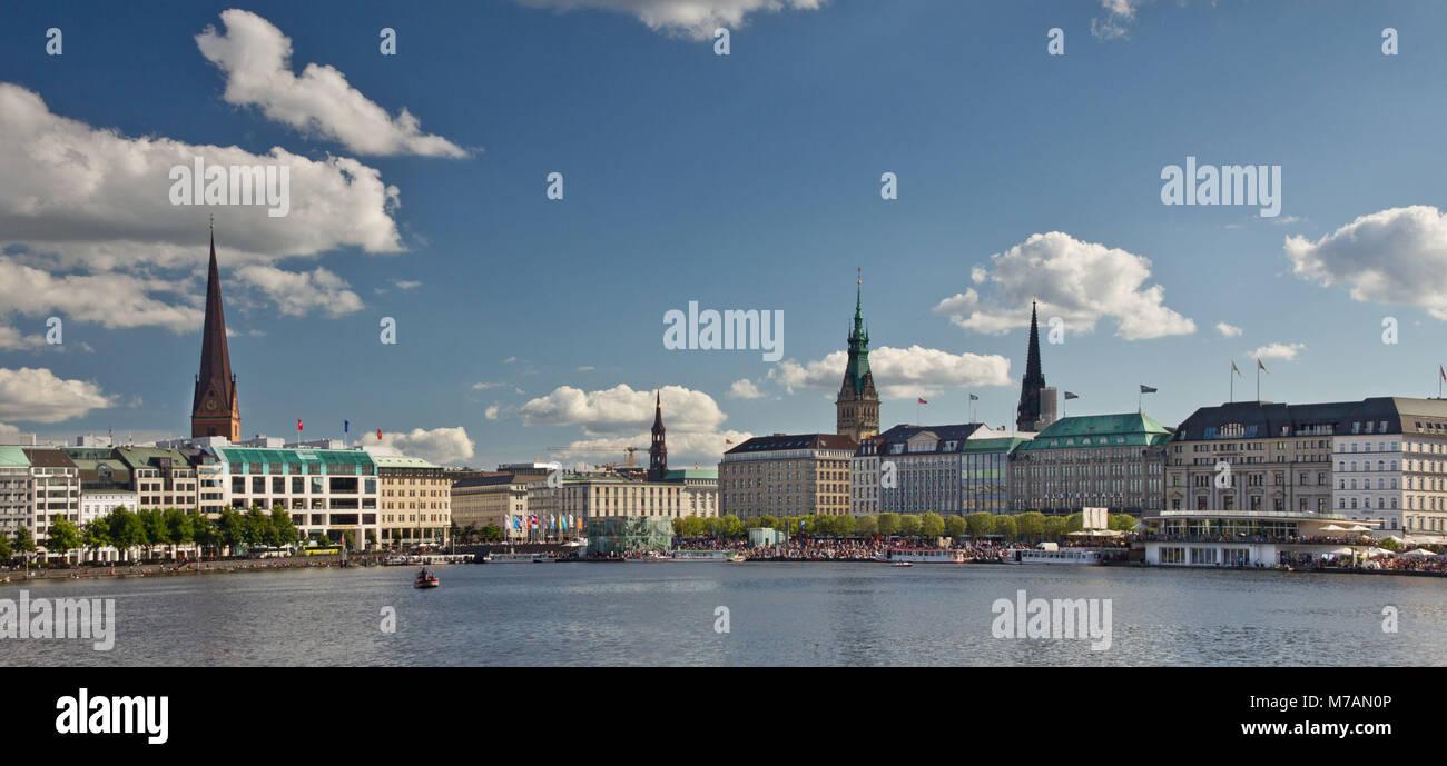 Hamburg, Inner Alster, regatta, skyline, Germany, summer sky, Jungfernstieg - Stock Image