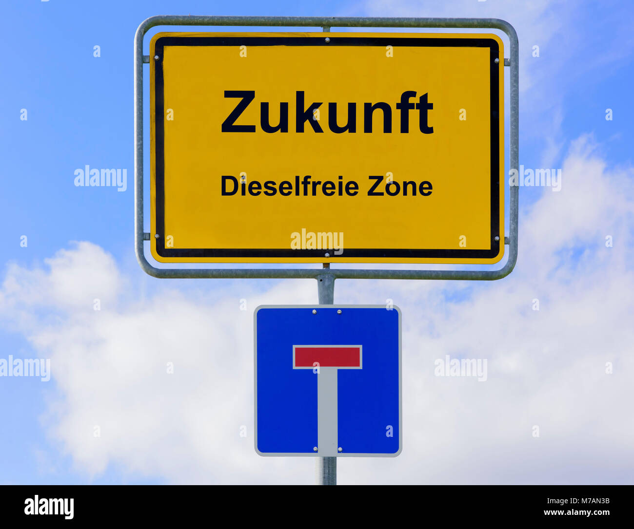 Road sign, future, diesel free zone, dead end, symbol, diesel suspended driver's licence - Stock Image