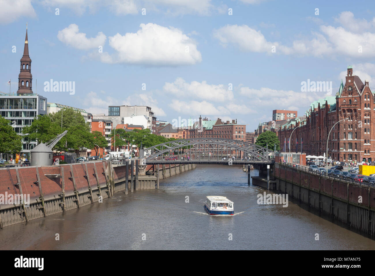Inland harbour, tower of the St. Catherine's Church, launch, warehouse district, Hamburg, Germany, Europe - Stock Image