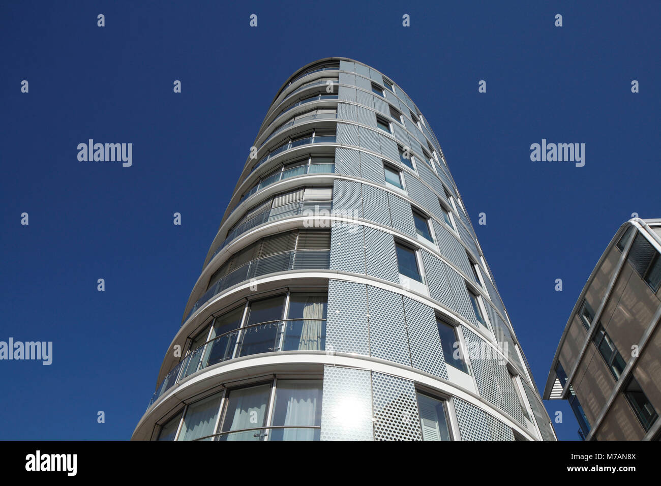 Round residential building, high rise, glass construction, harbour city, Hamburg, Germany, Europe - Stock Image