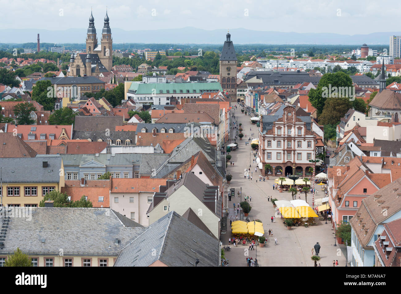 Speyer, view from the cathedral to the Maximilianstraße, with Das Altpörtel (city gate), Alter Münze - Stock Image