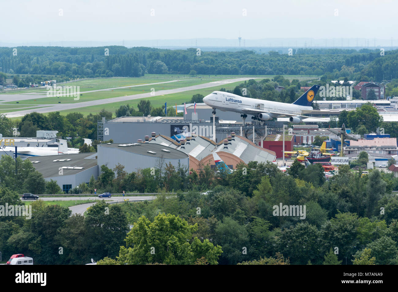 Speyer, view from the cathedral to the Technik Museum, jumbo jet of Lufthansa - Stock Image
