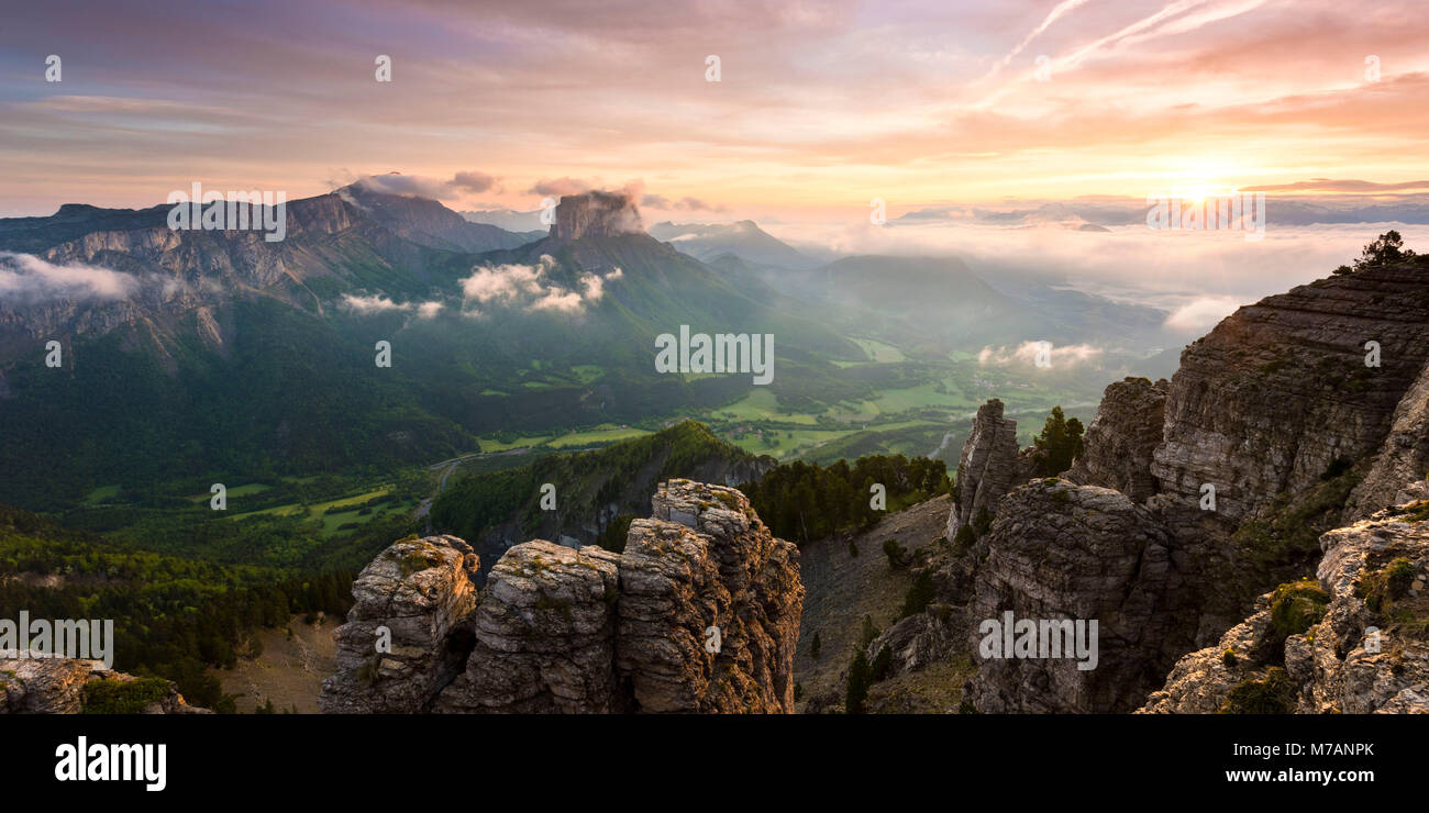 Sunrise over Mont Aiguille, Dauphine, France - Stock Image