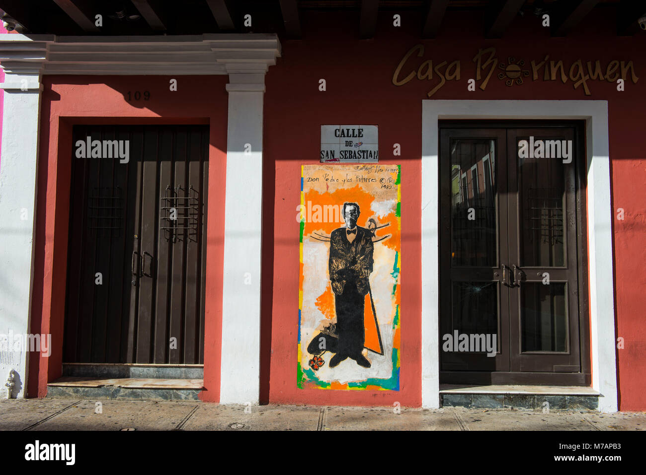 Red doors, Unesco world heritage sight the old town of San Juan, Puerto Rico, Caribbean - Stock Image