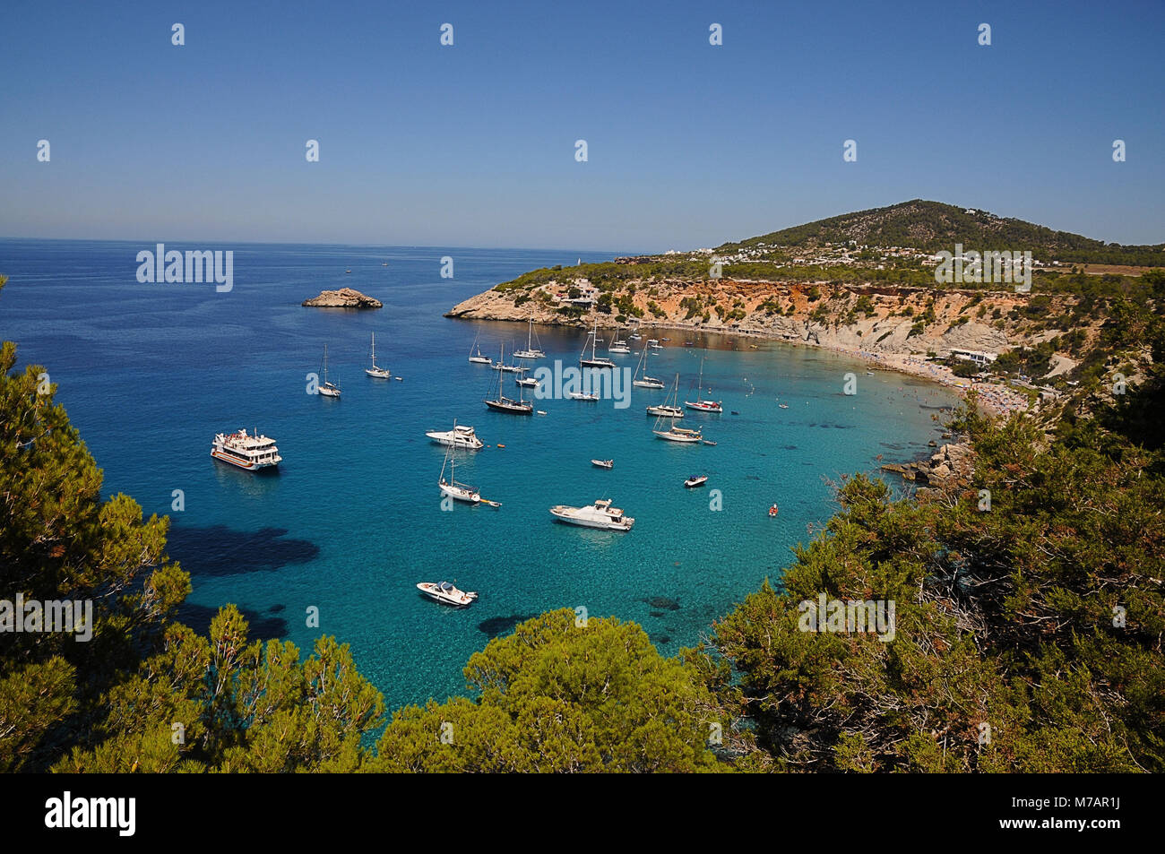 Superyacht, Ibiza, Spain, Landscape, - Stock Image