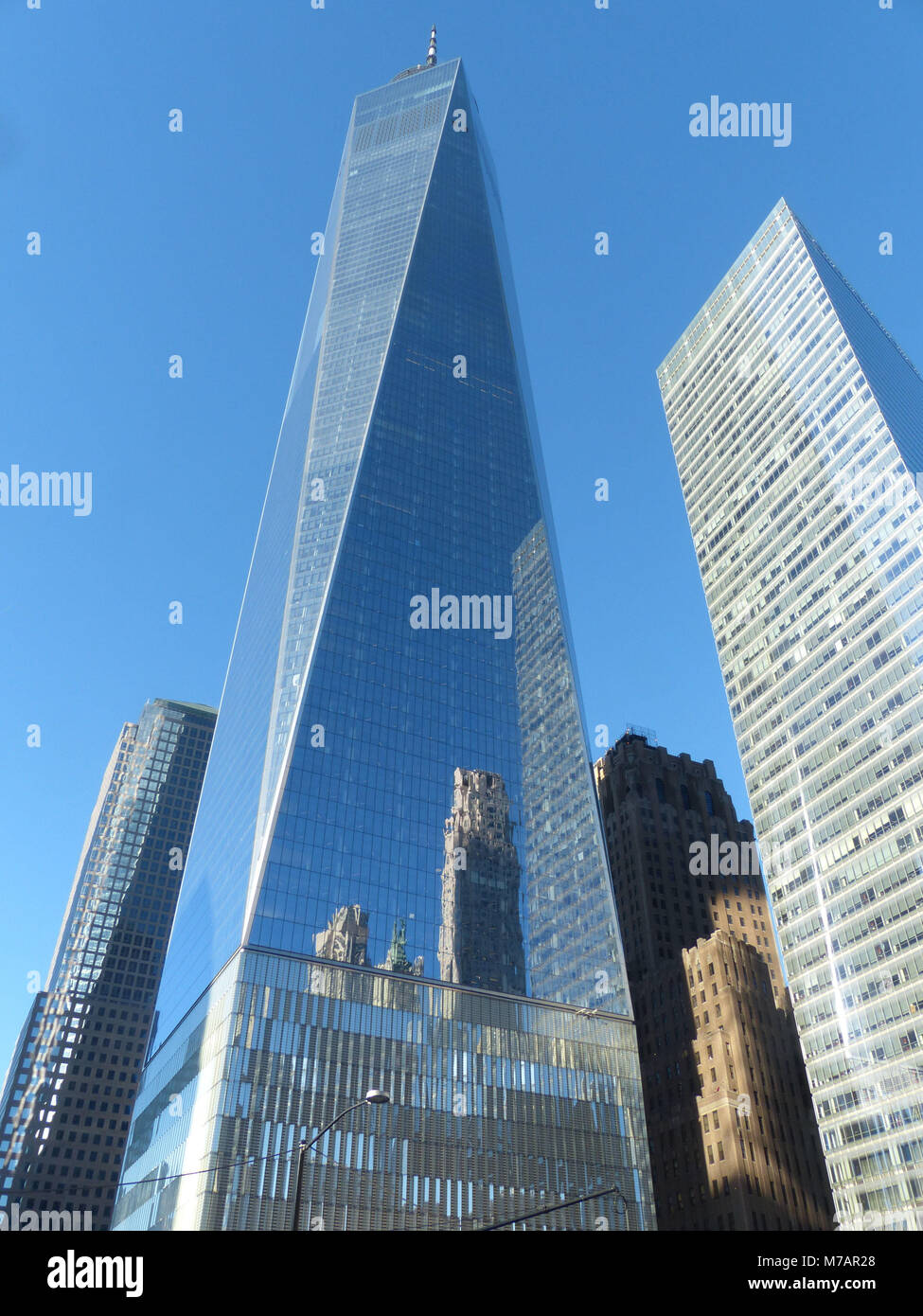 1 WTC or One World Trade Center with the World Trade Center designed by Architect David Childs - Stock Image