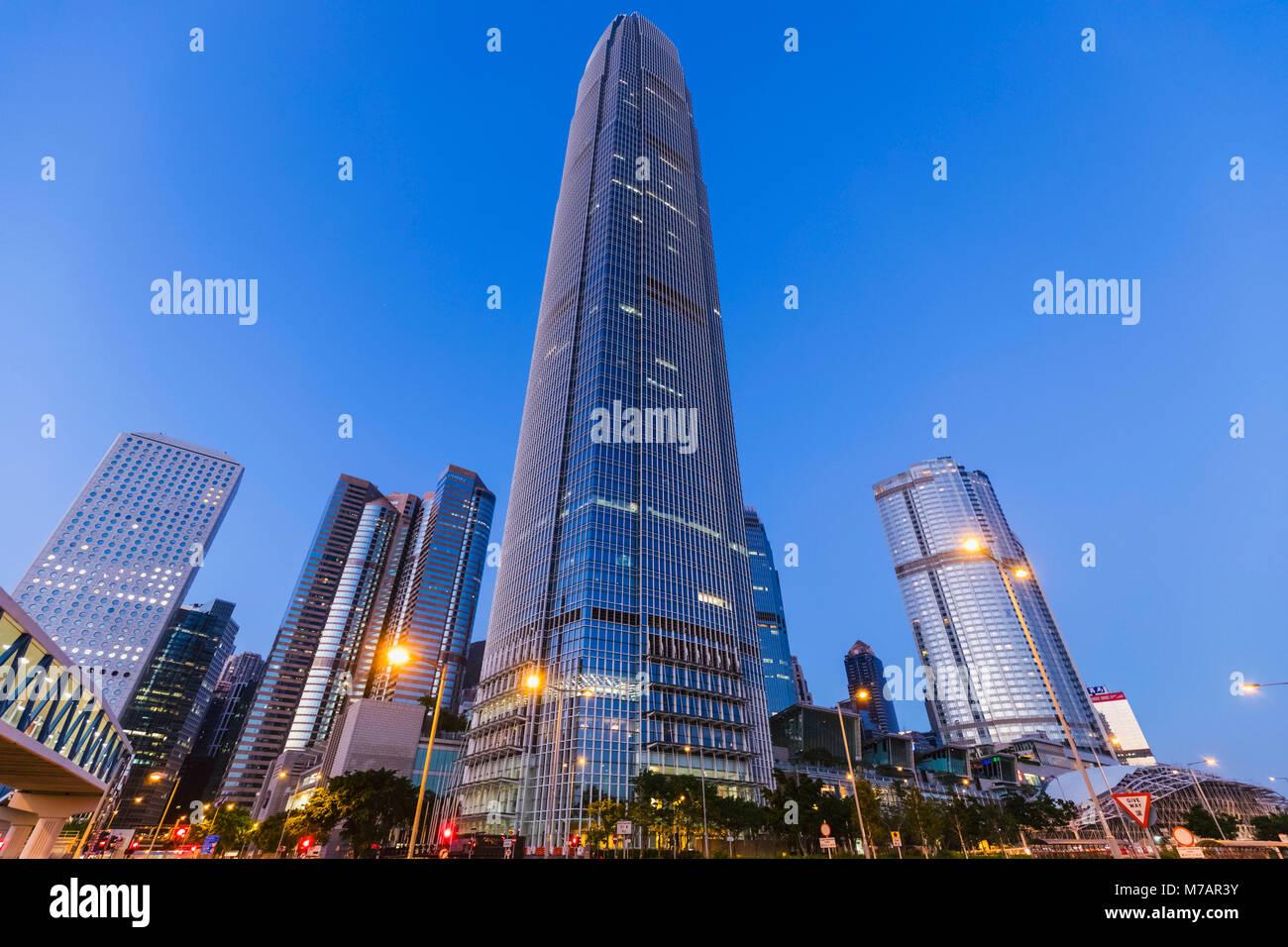 China, Hong Kong, City Skyline and International Finance Centre Building (IFC) Stock Photo