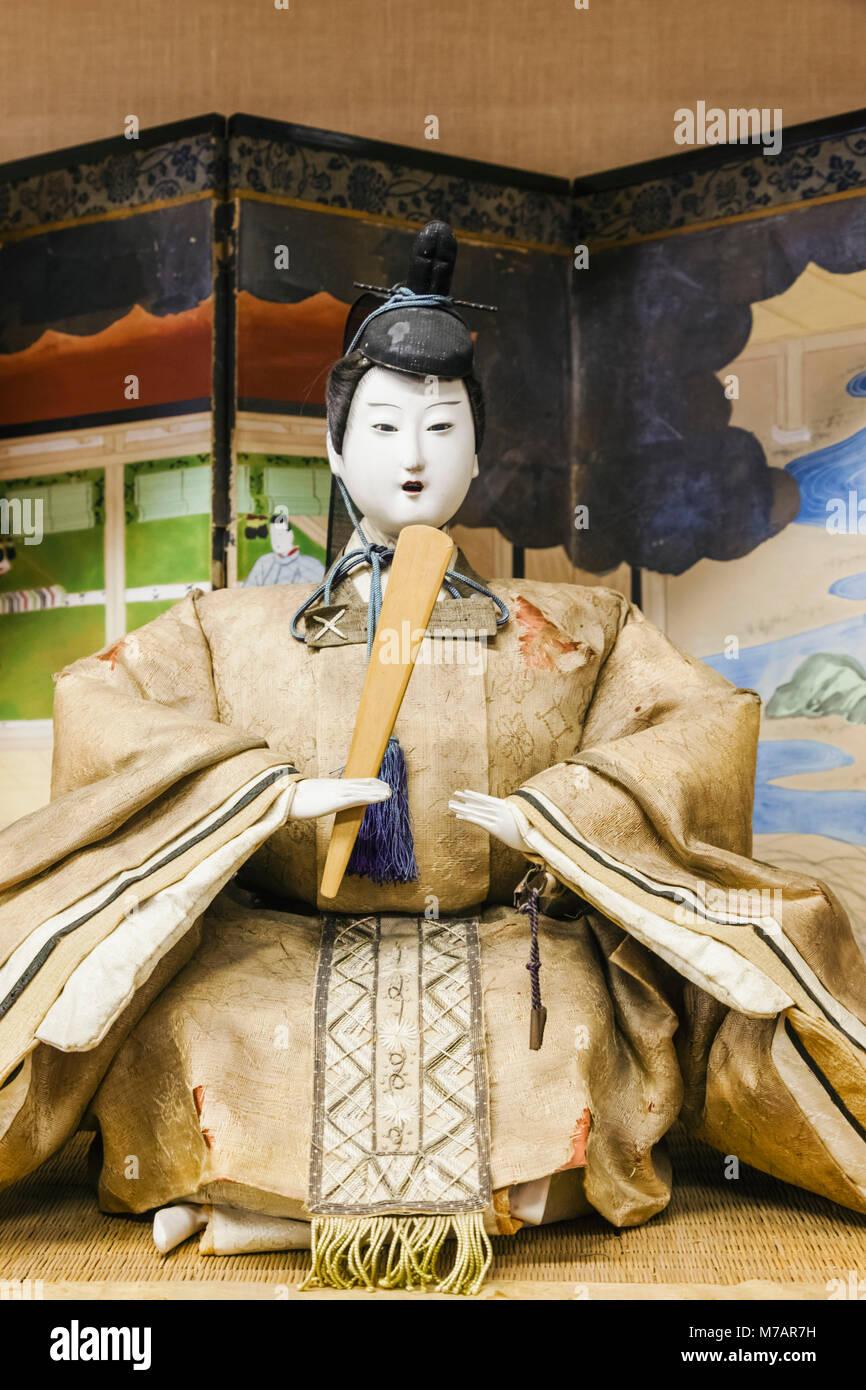 Japan, Honshu, Shizuoka Prefecture, Atami, Atami Castle, Exhibit of Japanese Doll in Historical Period Costume - Stock Image