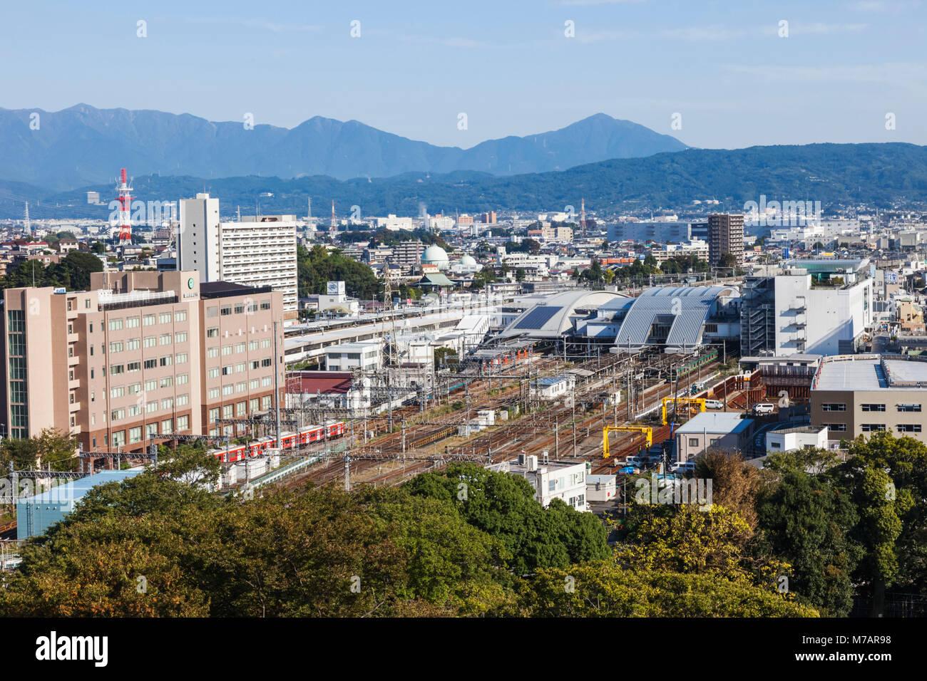 Japan, Honshu, Kanagawa Prefecture, Odawara, City Skyline View from Odawara Castle - Stock Image