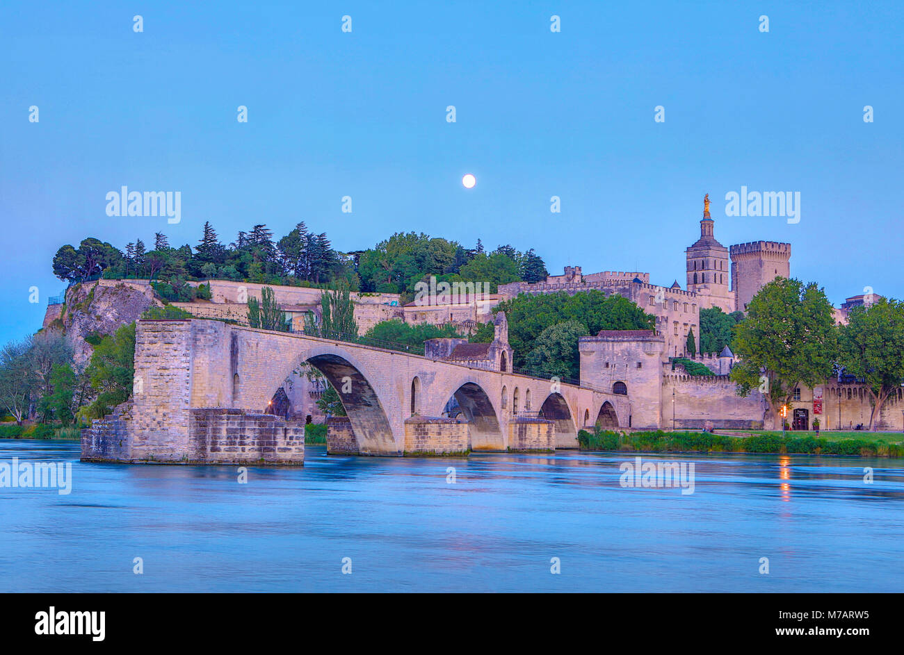 France, Provence region, Avignon city, the Popes Palace ,St. Benezet bridge, Rhone river at moonlight Stock Photo