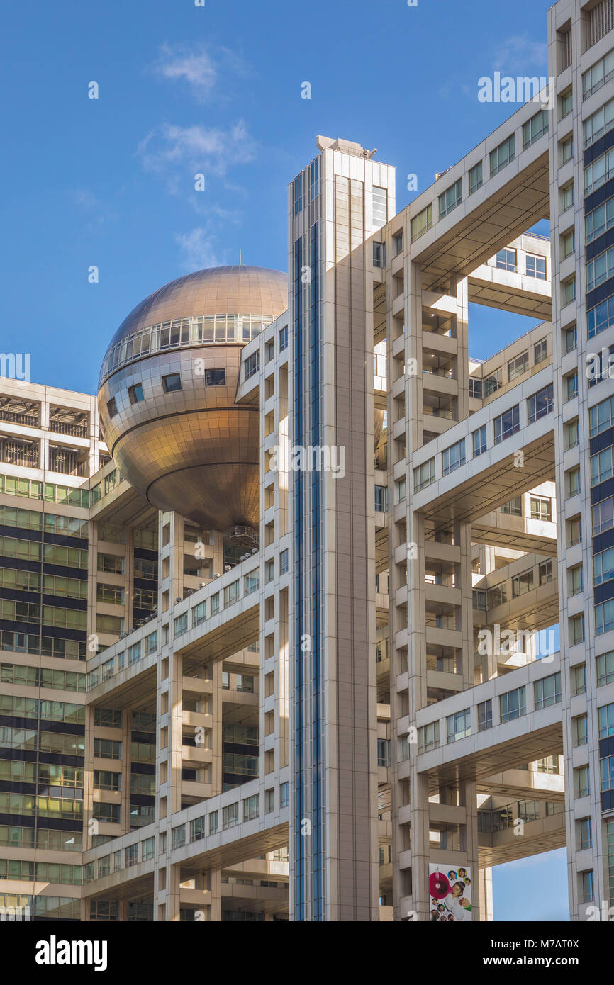 Japan, Tokyo City, Odaiba District, Fuji Television building - Stock Image