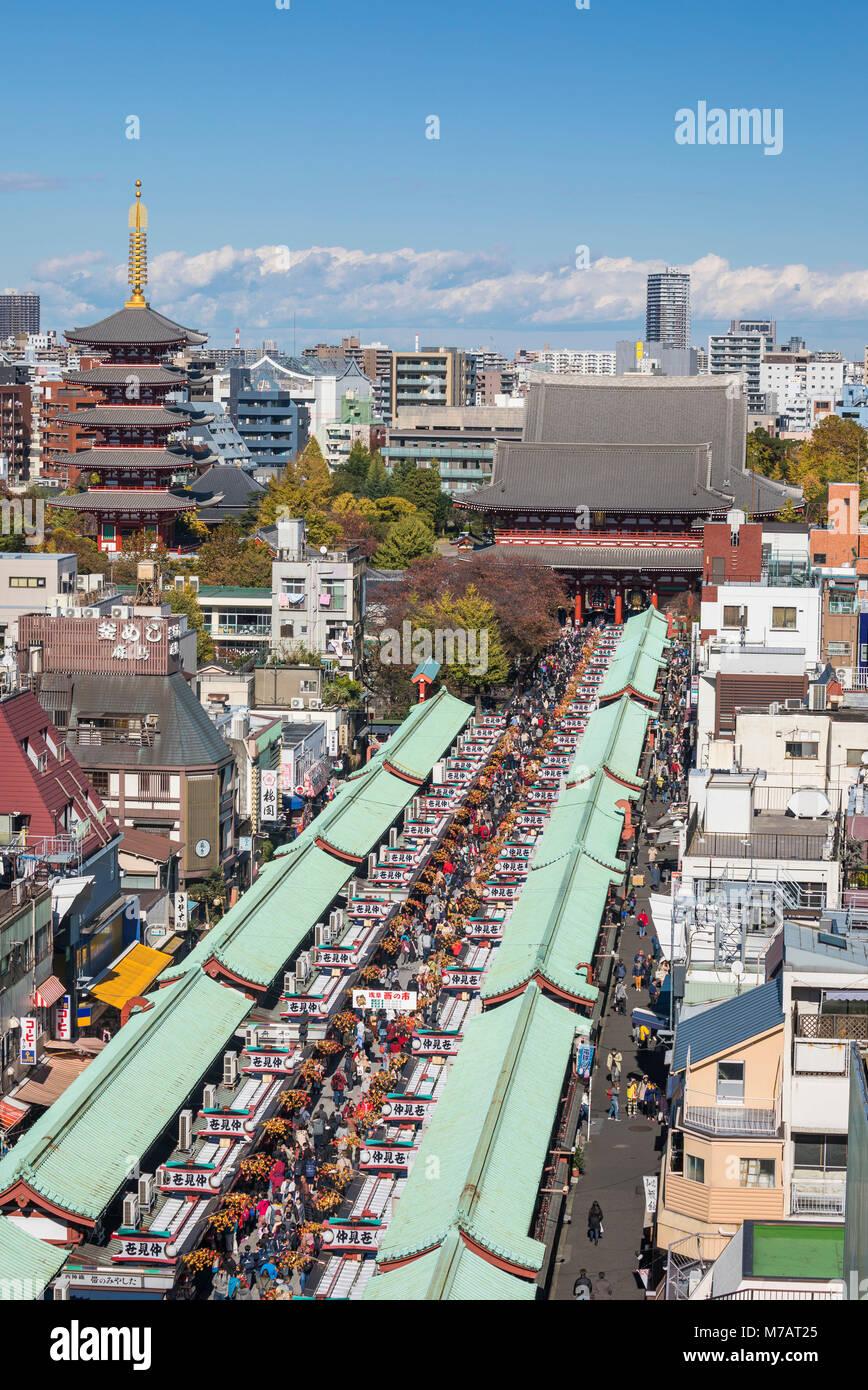 Japan, Tokyo City, Asakusa District, Sensoji Temple, Nakamise Street Stock Photo