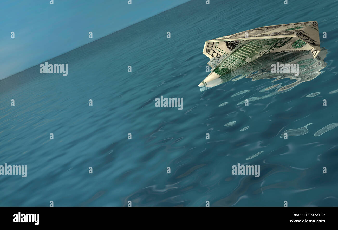 American bank note in the shape of a boat floating on water Stock Photo