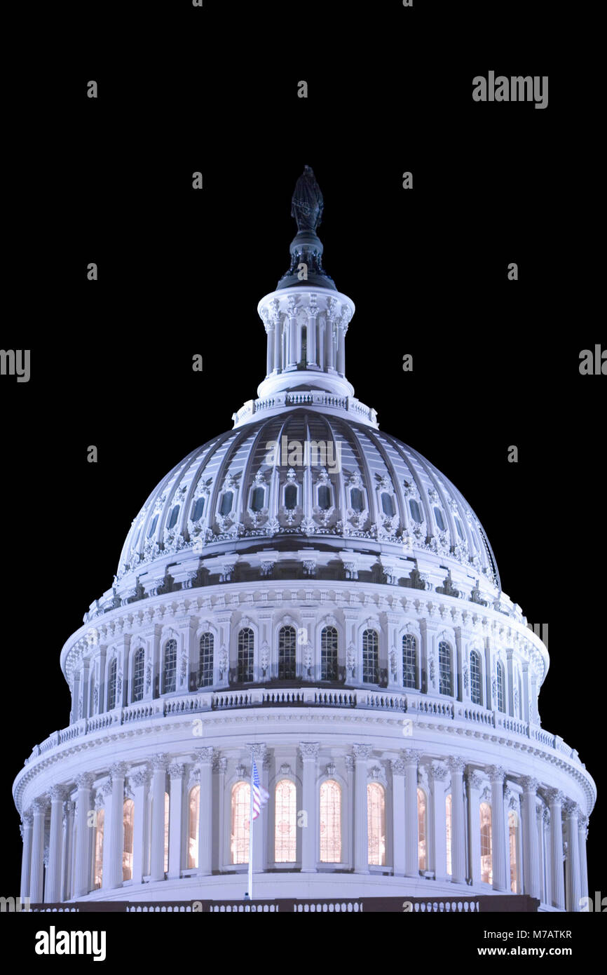 High section view of a government building lit up at night, Capitol Building, Washington DC, USA - Stock Image