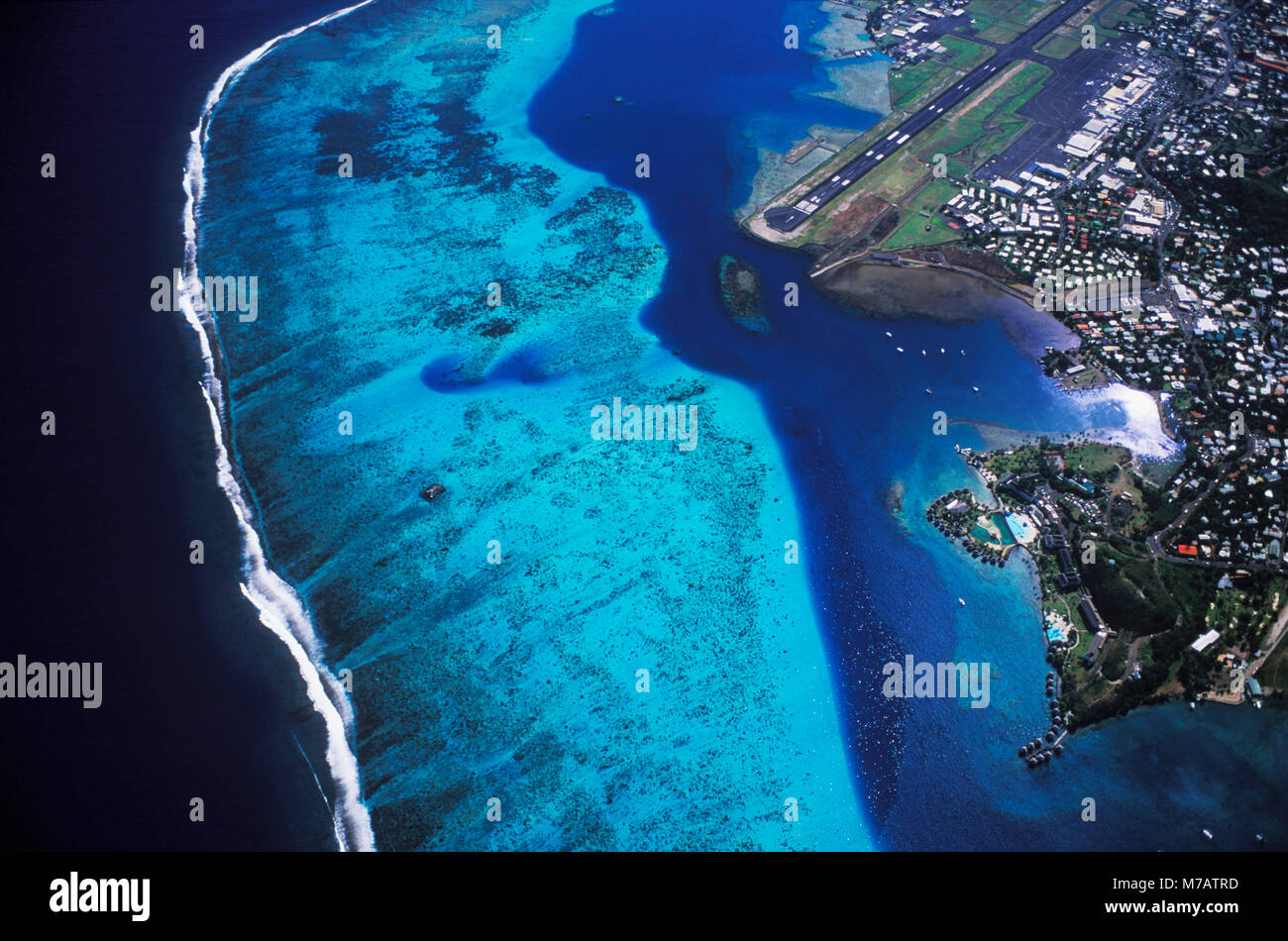 Arial view of a city along the sea, Hawaii, USA - Stock Image