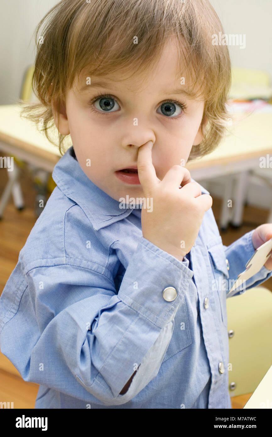 Portrait Of A Boy Picking Nose Stock Photo 176645320 Alamy