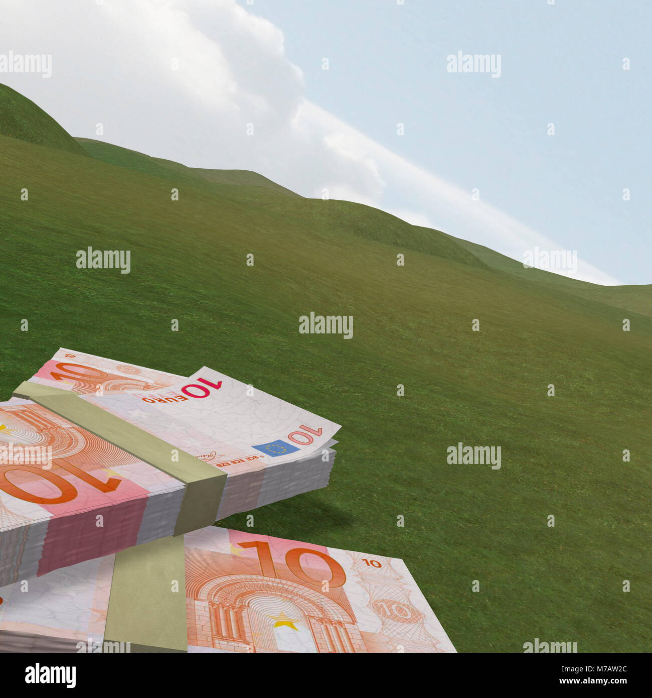 Close-up of wads of paper currencies - Stock Image