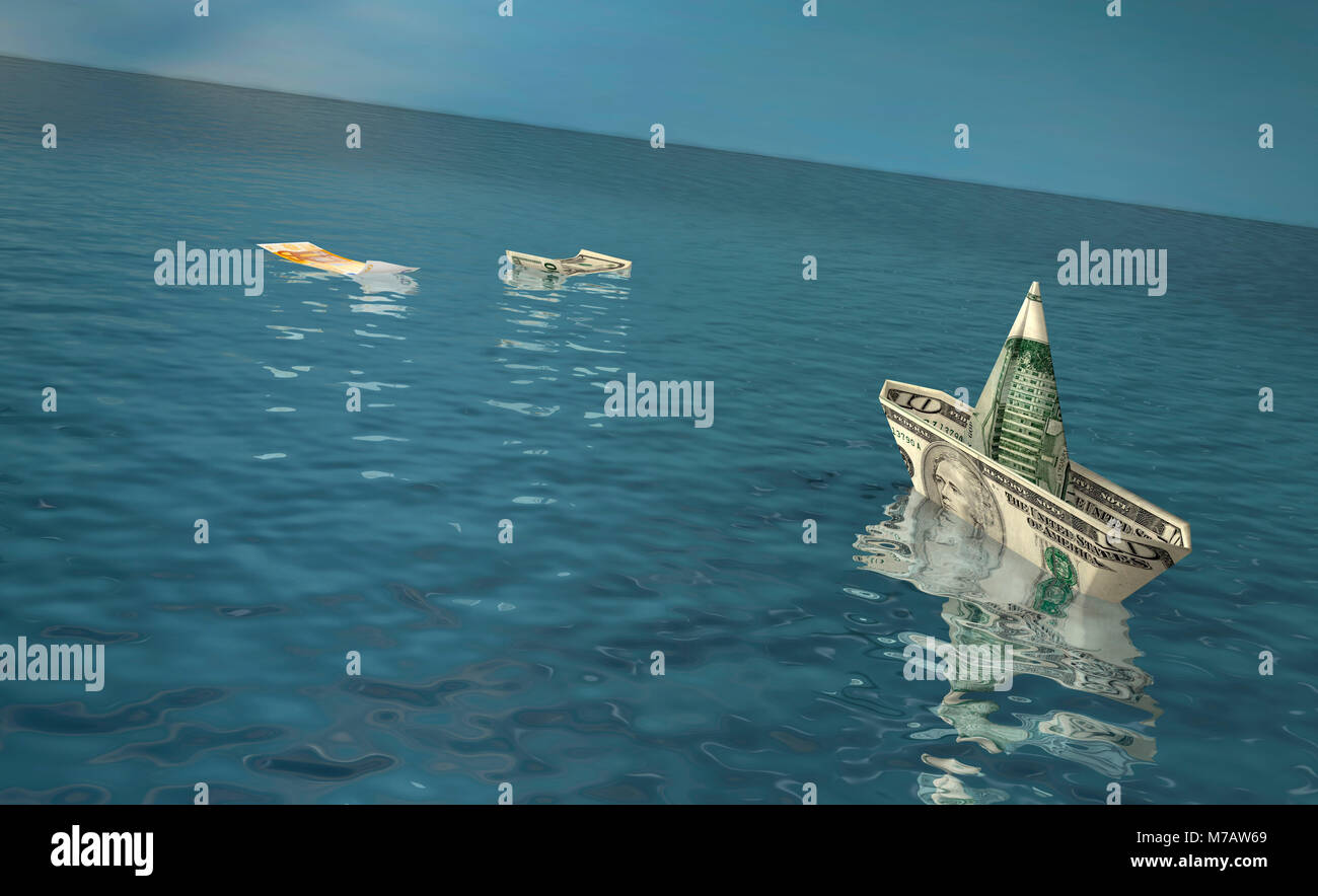 American and Euro bank notes floating on water Stock Photo