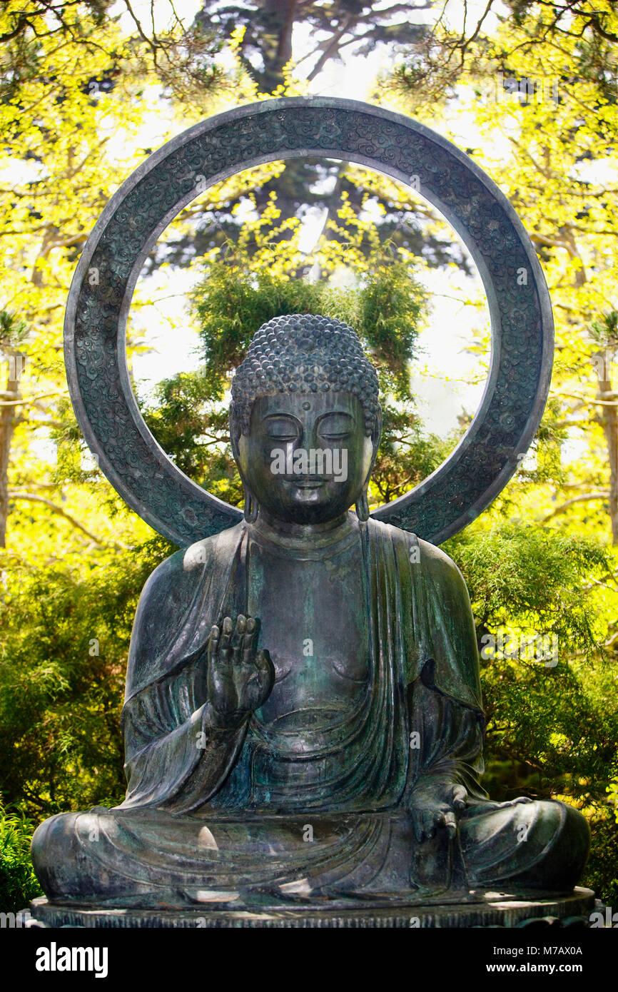 Statue of Buddha in a park, Japanese Tea Garden, Golden Gate Park, San Francisco, California, USA Stock Photo