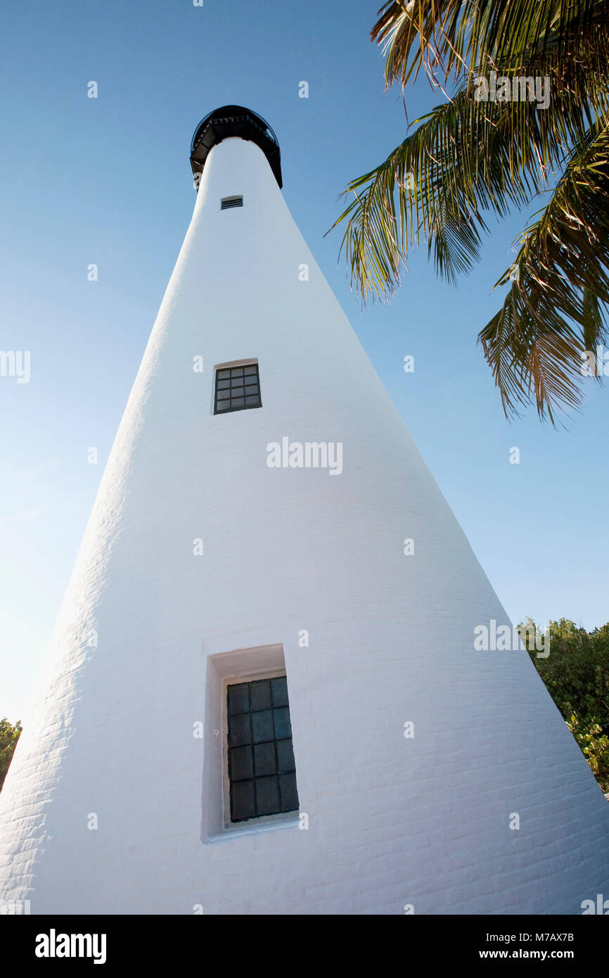 Low angle view of a lighthouse, Cape Florida Lighthouse, Key Biscayne, Miami-Dade County, Florida, USA - Stock Image