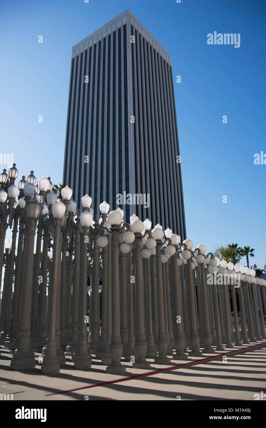 Light sculptures at a museum, Los Angeles County Museum of Art, Wilshire Boulevard, Los Angeles County, California, - Stock Image