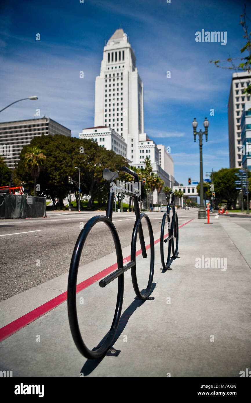 Buildings along a road, Los Angeles City Hall, Los Angeles, California, USA - Stock Image