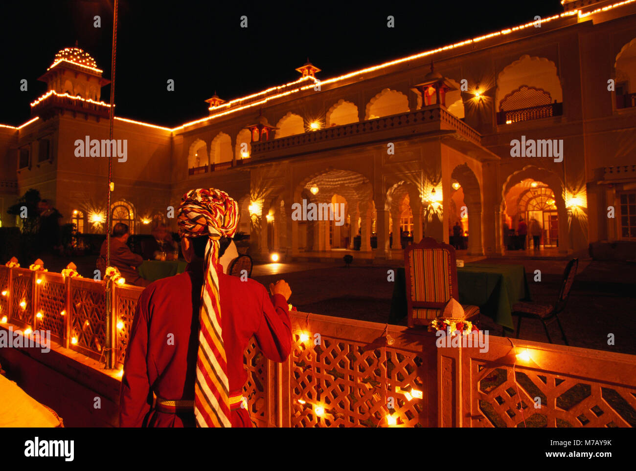 Palace lit up at night, Jai Mahal Palace Hotel, Jaipur, Rajasthan, India - Stock Image