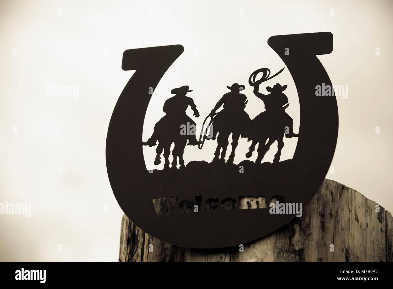 Close-up of a welcome sign, Montana, USA - Stock Image