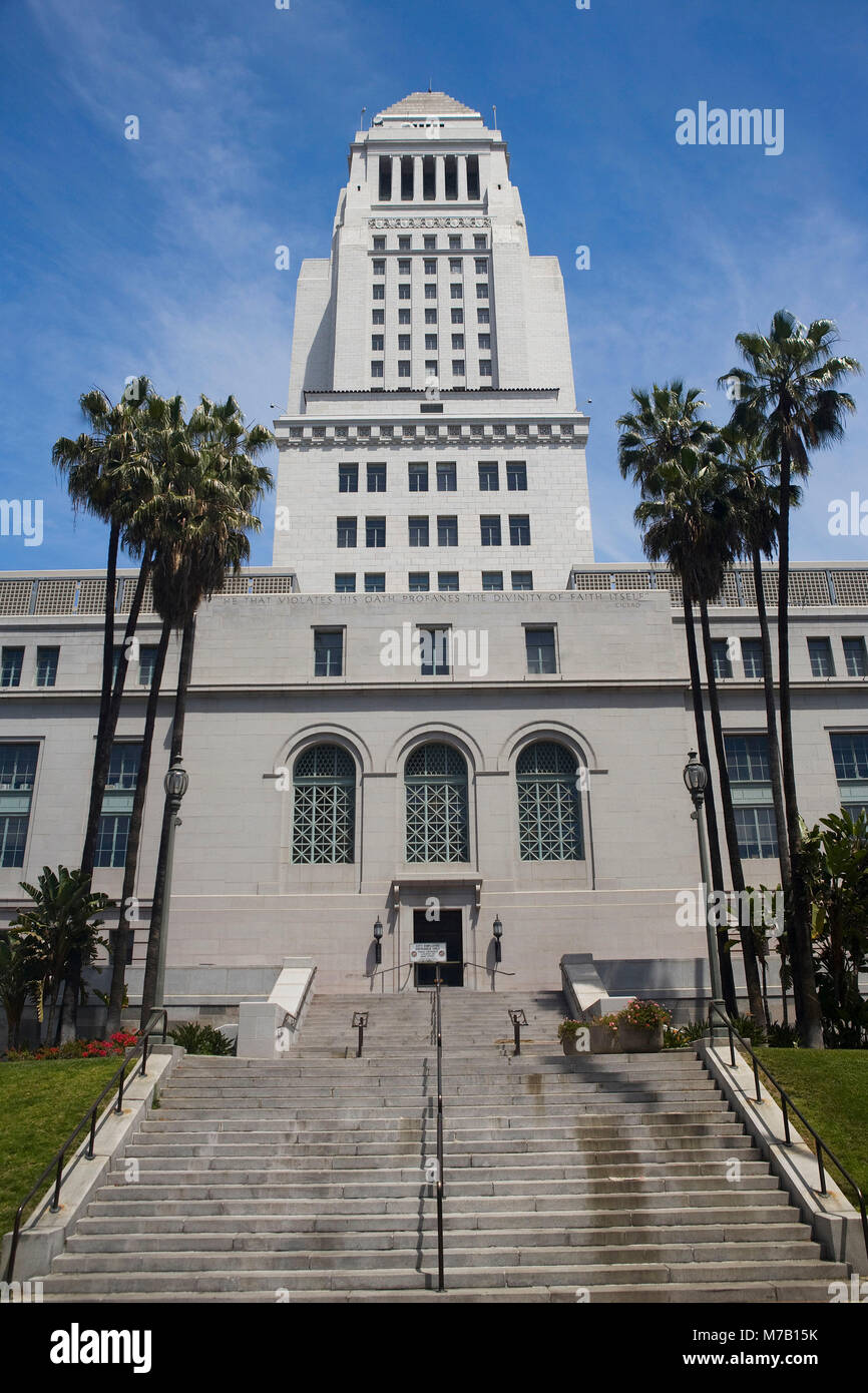 Facade of a government building, Los Angeles City Hall, Los Angeles, California, USA - Stock Image