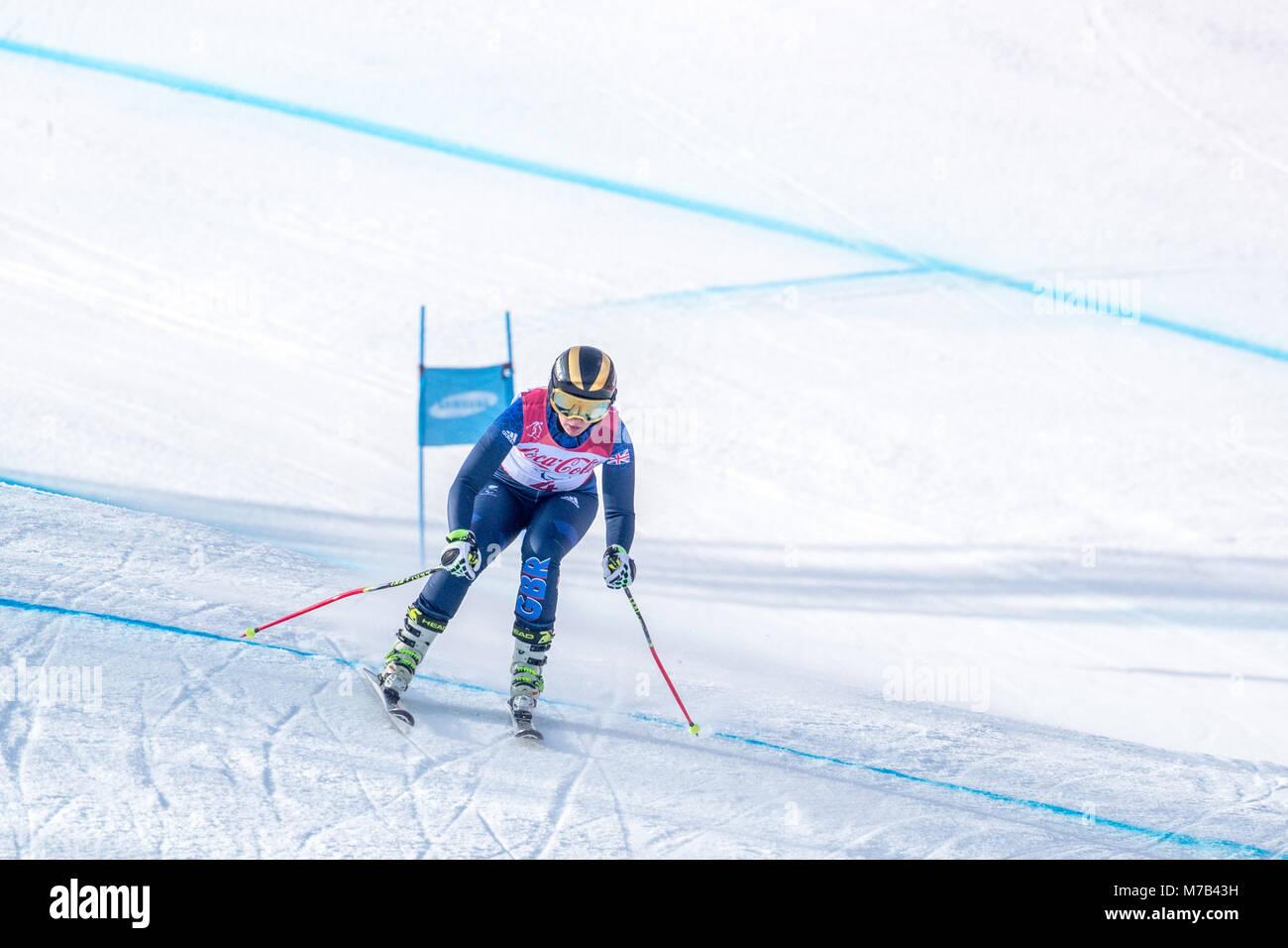 Pyeongchang, South Korea. 10th Mar, 2018. March 10th Pyeongchang Korea. During women's downhill, visually impaired Stock Photo