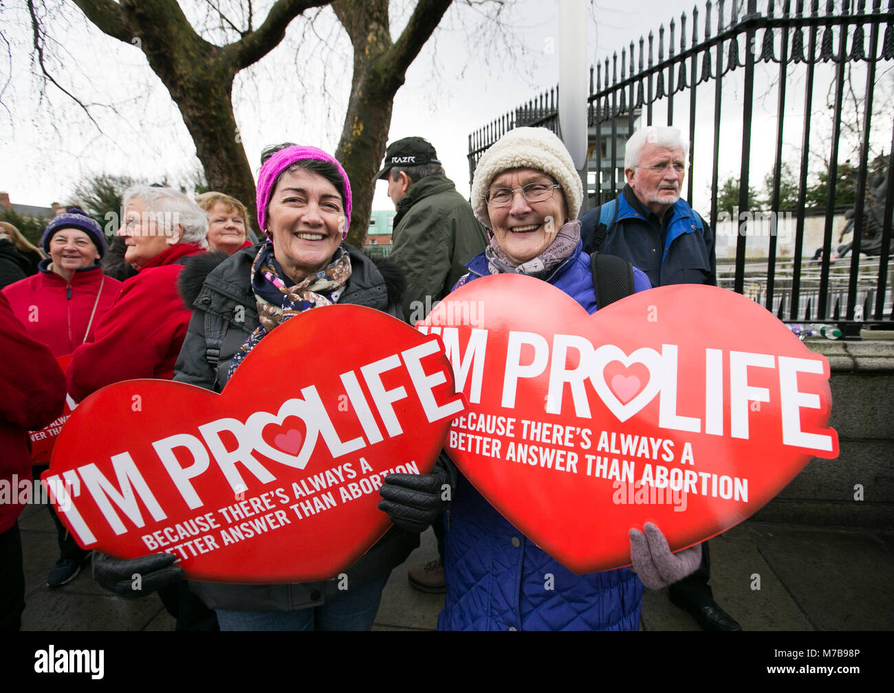 Dublin, Ireland. 10th Mar, 2018. Anti Abortion Rally, Dublin Ireland. Pro Life activists gather on Parnell Square - Stock Image