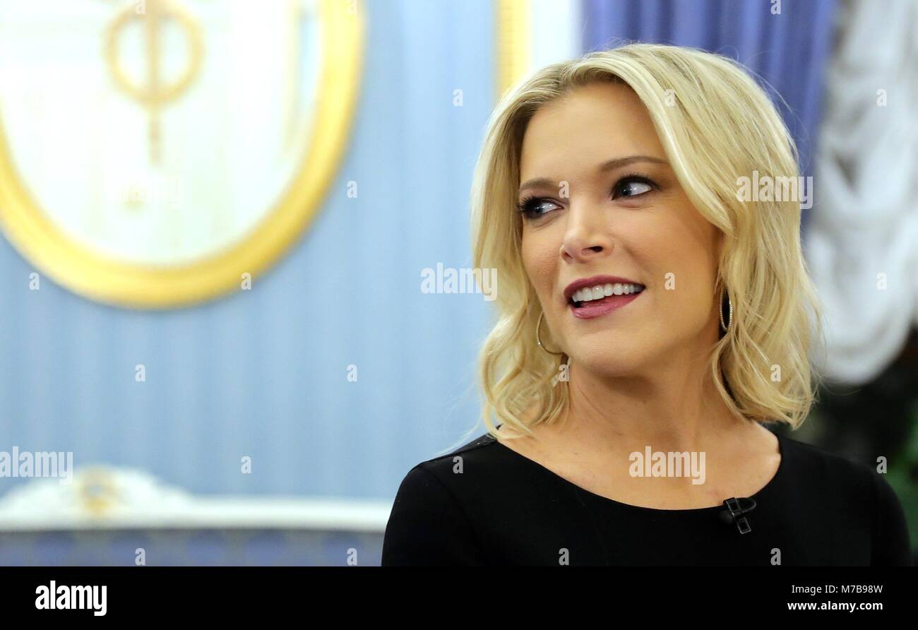 American NBC reporter Megyn Kelly during a television interview with Russian President Vladimir Putin at the Kremlin - Stock Image