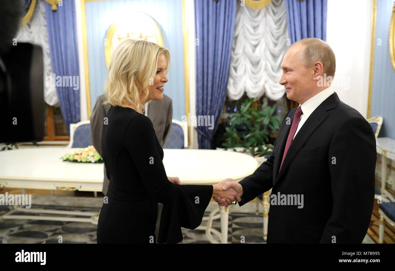 Russian President Vladimir Putin welcomes NBC Television reporter Megyn Kelly prior to conducting an interview at - Stock Image