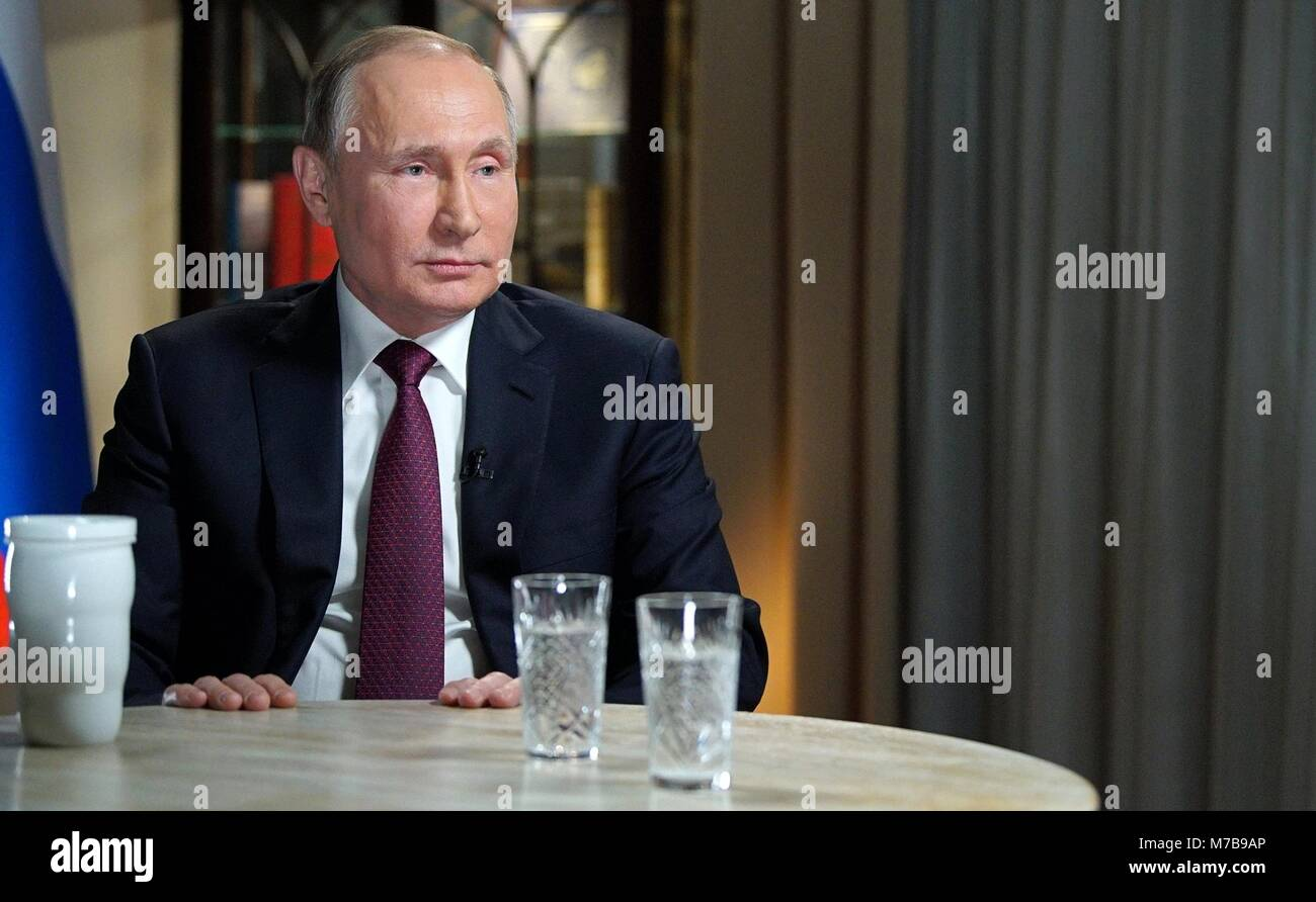Russian President Vladimir Putin during a television interview with NBC reporter Megyn Kelly March 2, 2018 in Kaliningrad, - Stock Image