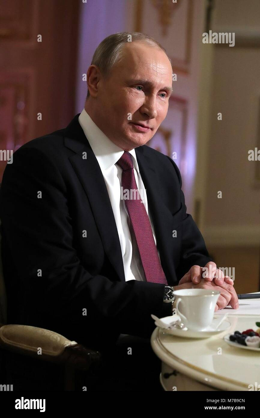 Russian President Vladimir Putin during a television interview with NBC reporter Megyn Kelly at the Kremlin March - Stock Image
