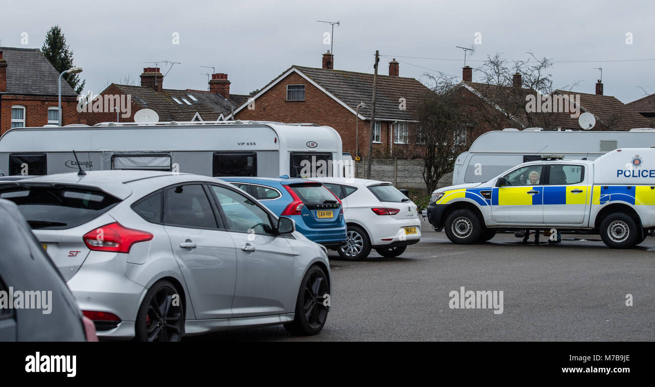 Brentwood, Essex 10th March 2018.  An unlawful traveler's camp was set up in William Hunter Car Park Brentwood, - Stock Image