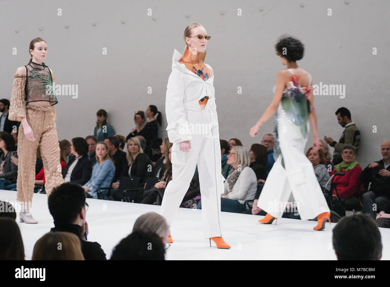 10 March 2018, Germany, Hanover: Models wearing clothes from the collection 'Tropical Dysfunction' by Charlotte - Stock Image
