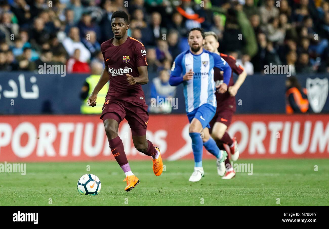 Malaga, Spain. 9th March, 2018. LaLiga football match between Malaga CF vs FC Barcelona at the La Rosaleda Stadium. - Stock Image