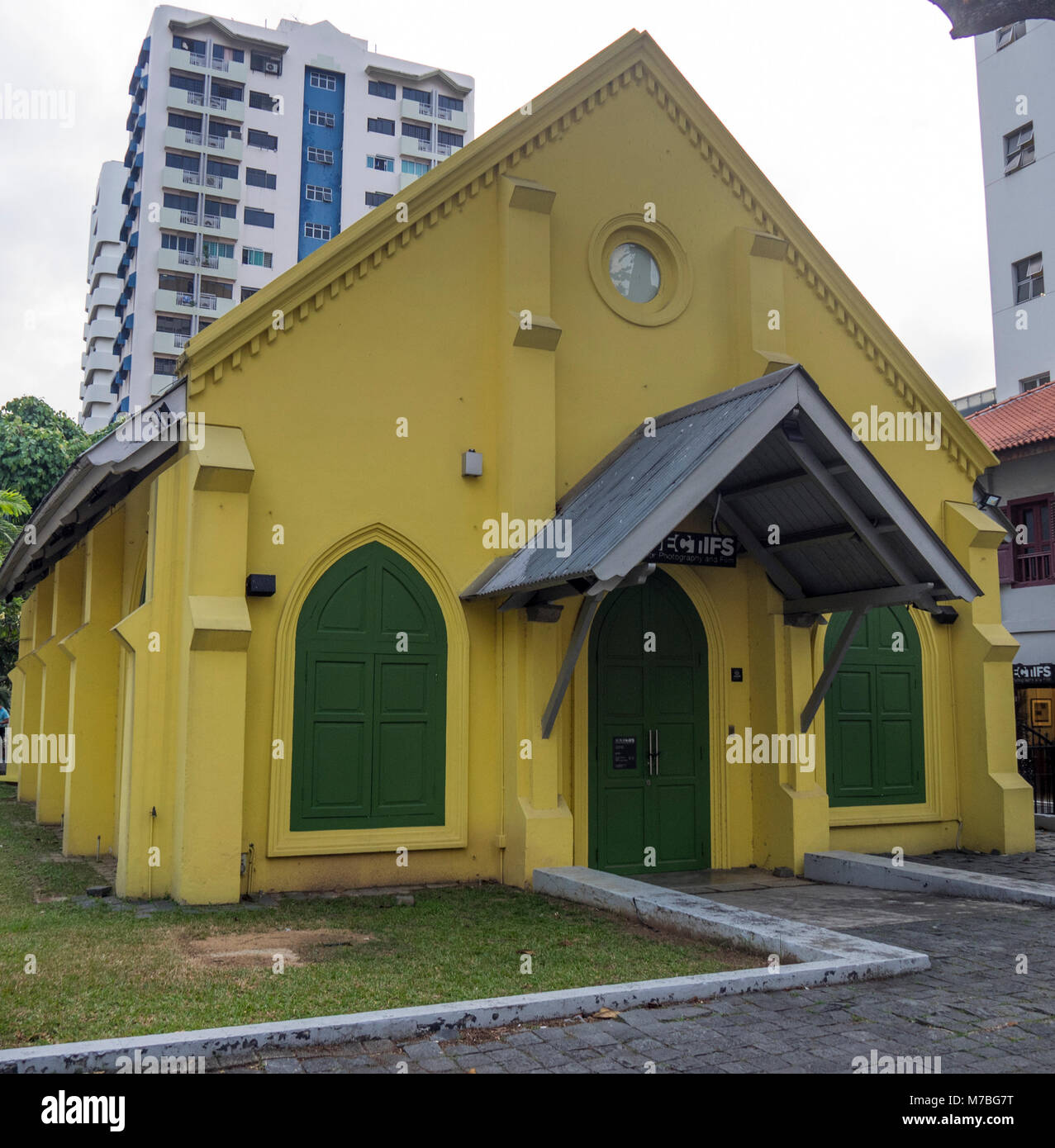 MIddle Road Curch, a national historical site, now usesd as an arts and exhibition centre, Singapore. - Stock Image