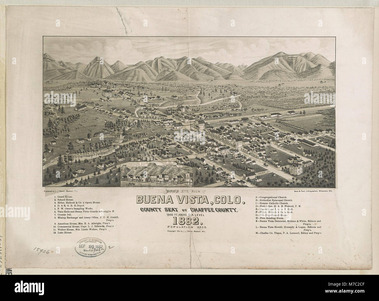 Bird's eye view of Buena Vista, Colo. County Seat of Chaffee County 1882 LCCN2003654954 - Stock Image