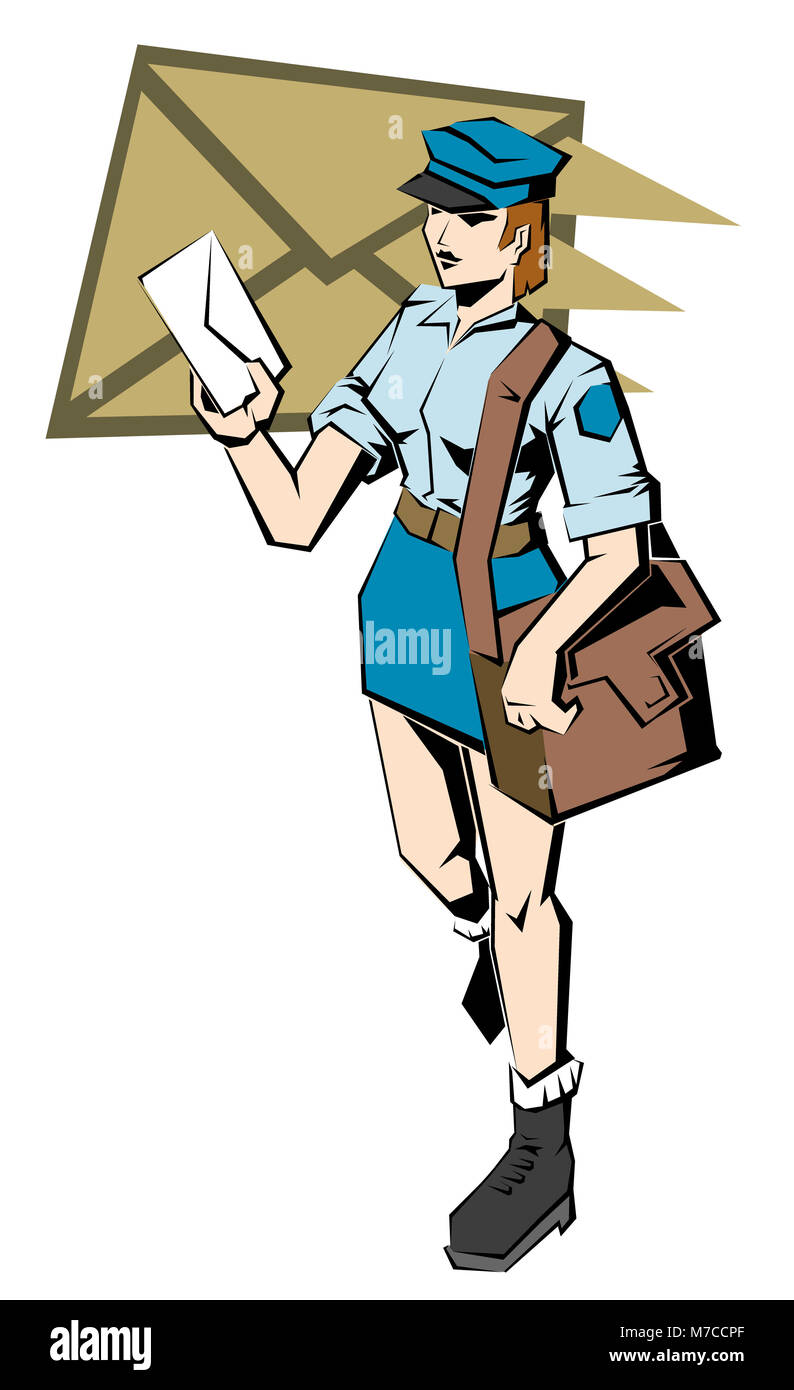 High Angle View Of A Female Postal Worker Holding A Letter Stock