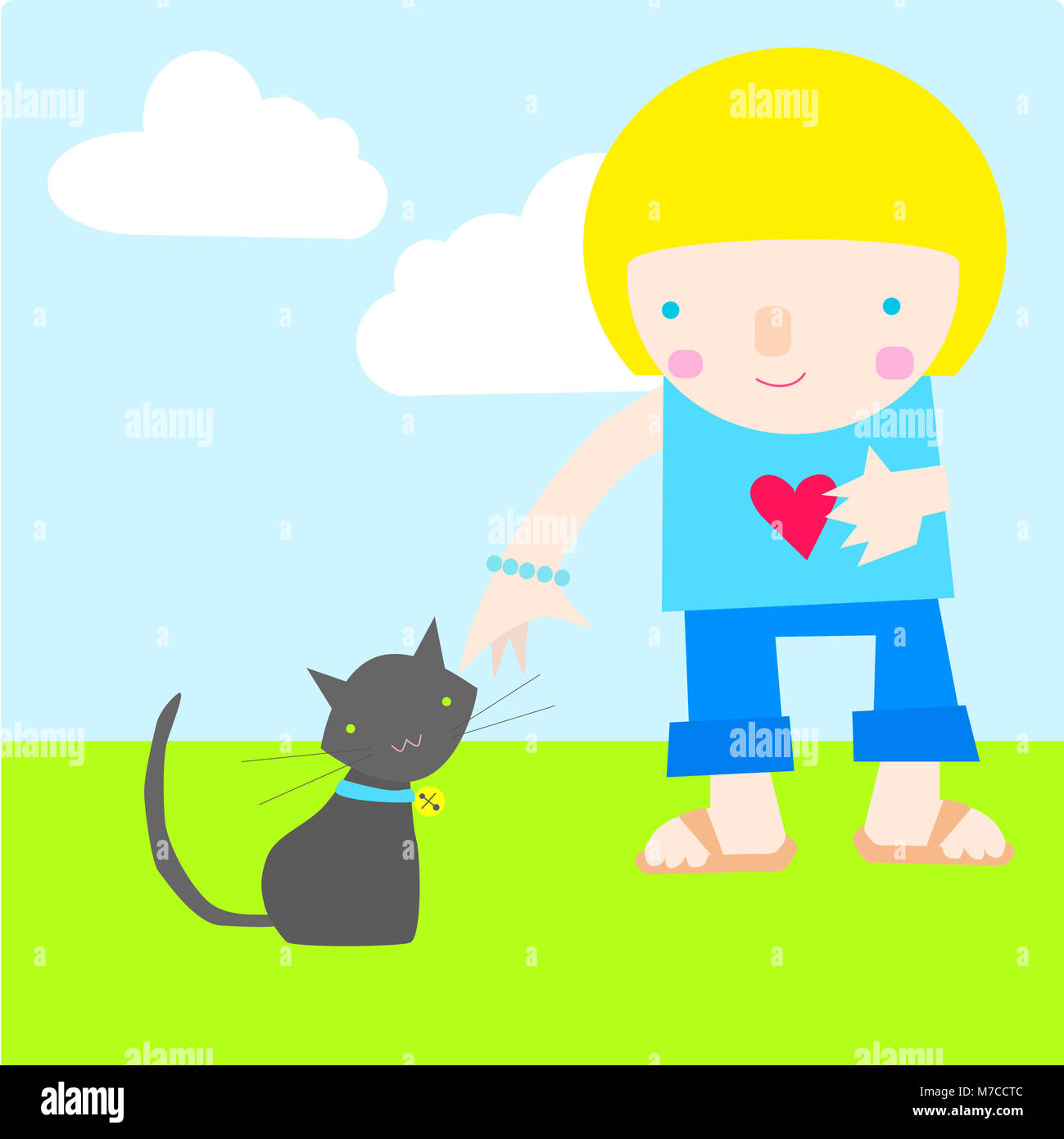 Girl standing besides a cat - Stock Image