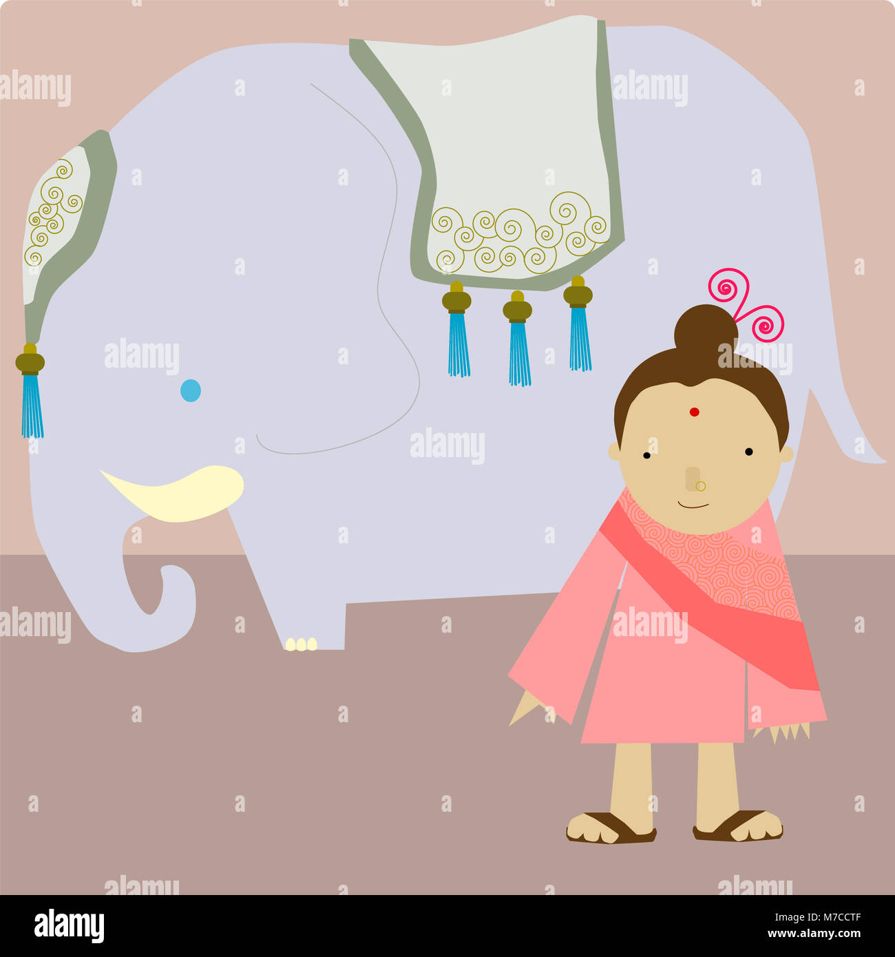 Girl standing besides an elephant - Stock Image