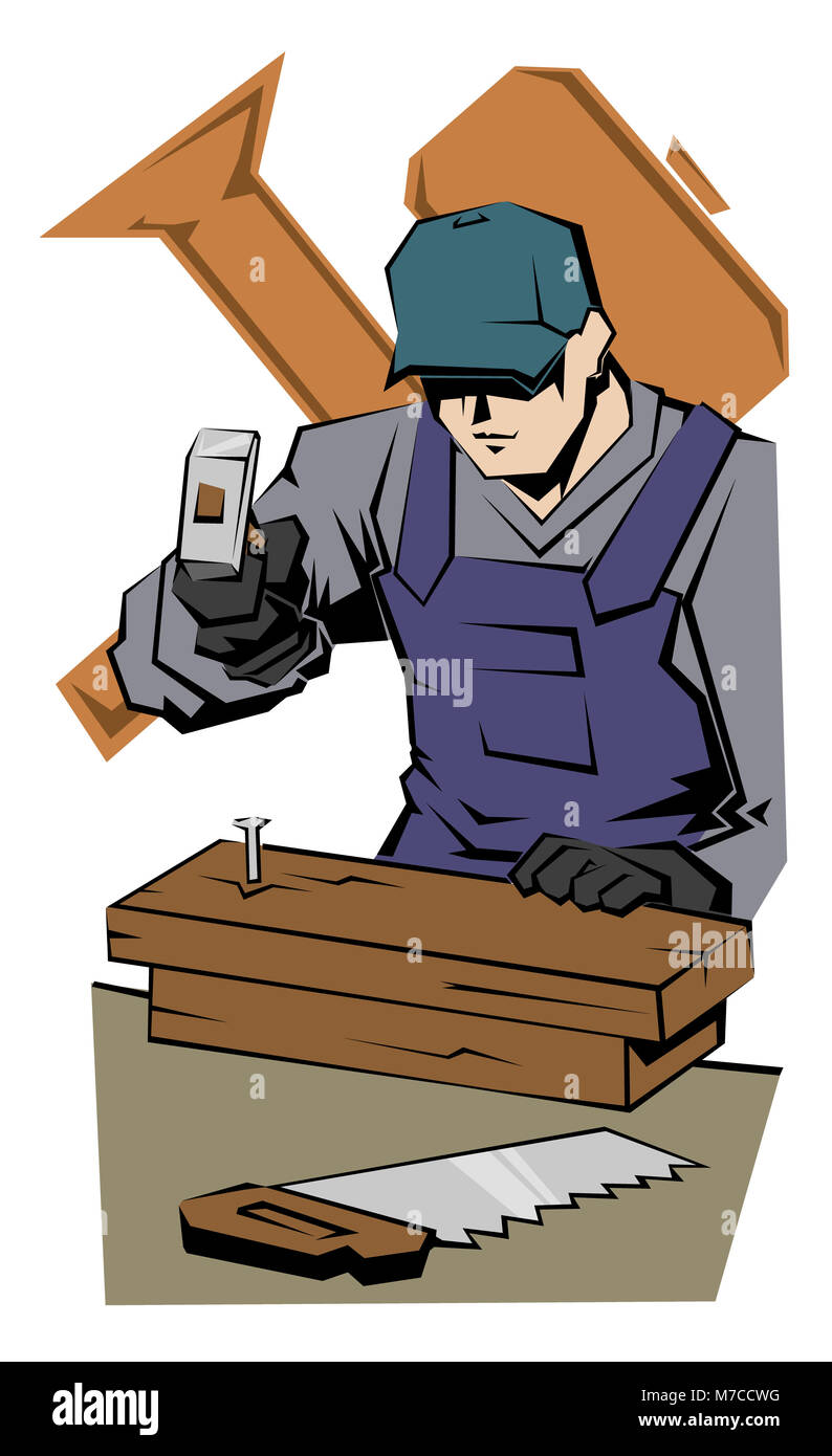 Close-up of a carpenter hammering a nail into wooden planks - Stock Image