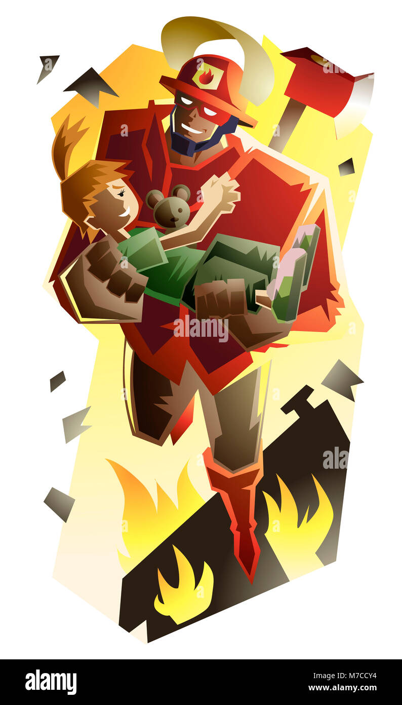 High angle view of a superhero holding a boy - Stock Image