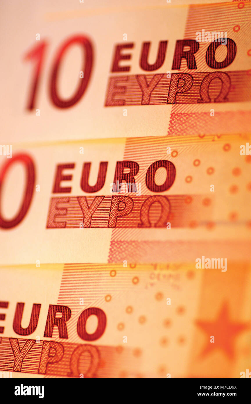 Close-up of ten Euro banknotes - Stock Image