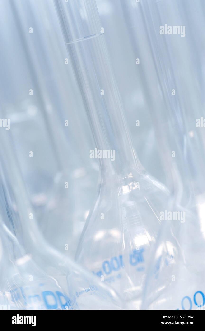 Close-up of beakers - Stock Image