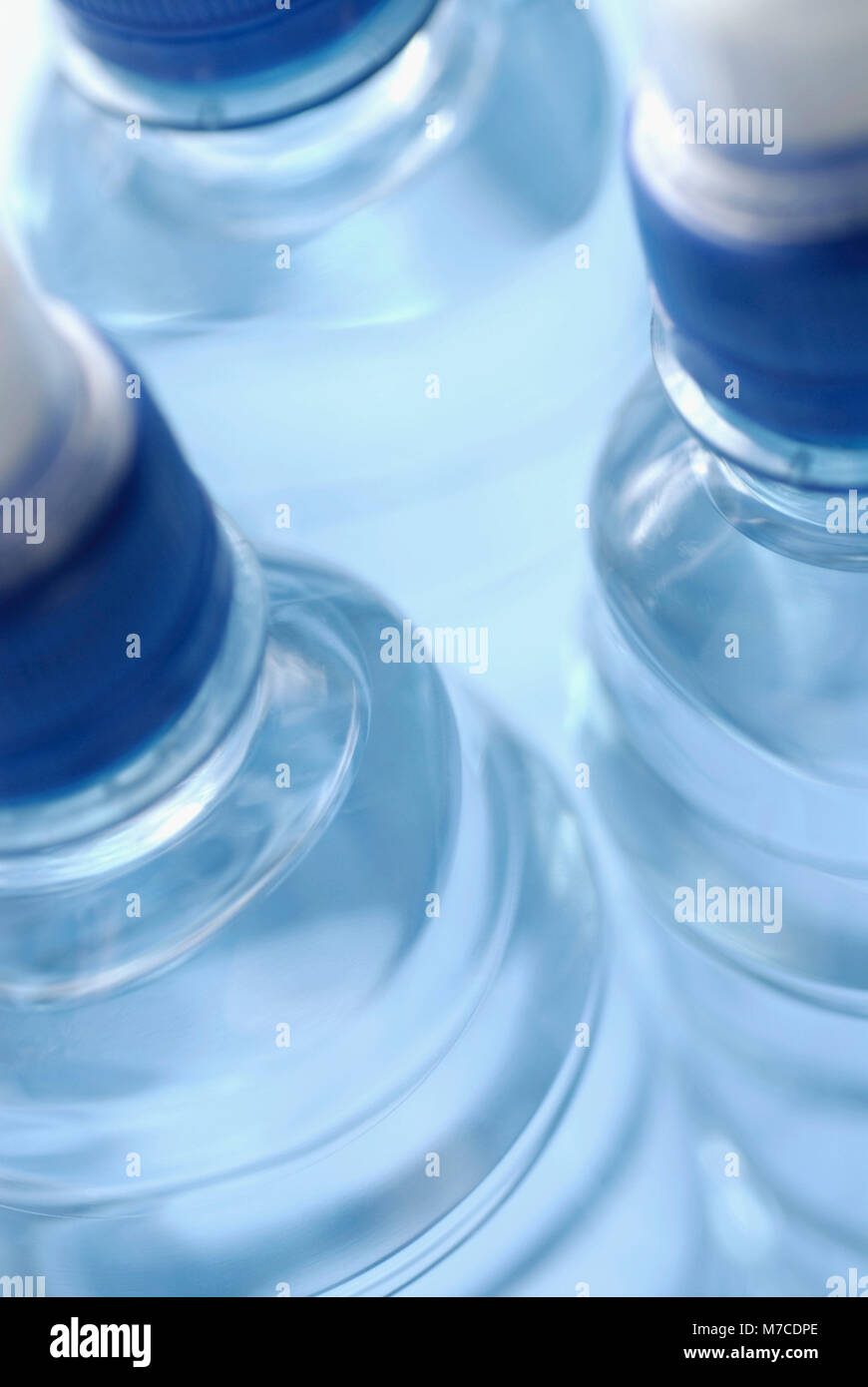 Close-up of three water bottles - Stock Image