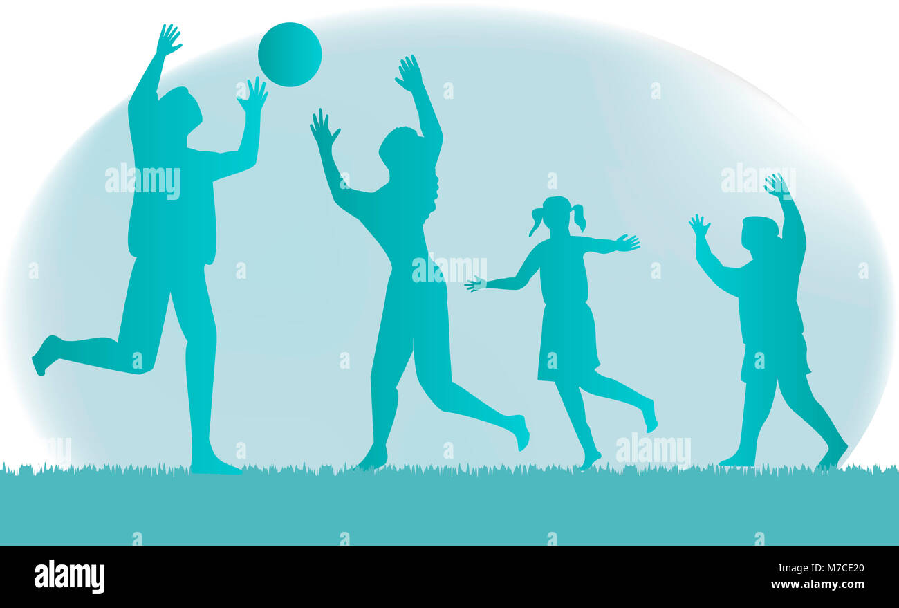 Parents with their son and daughter playing volleyball - Stock Image