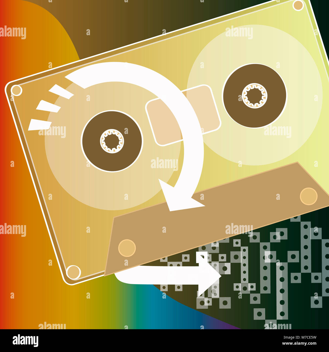 Close-up of an audio cassette - Stock Image